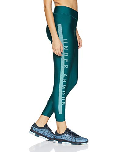 Under Armour Women's HeatGear Armour Branded Ankle Crop, Tourmaline Teal (716)/Metallic Silver, Small by Under Armour (Image #3)