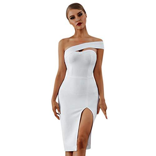 Sunhusing Ladies Sexy Solid Color Strapless Sleeveless Tube Top High Waist Hem Split Slim Bag Hip Dress White