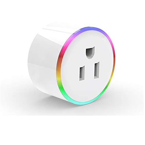 Elegant Choise Smart Plug, Mini Wireless Wifi Smart Outlet Work Compatible with Amazon Alexa Google Assistant IFTTT, RGB LED Light Remote Control Timer Plug Switch No Hub Required Round-1Pack
