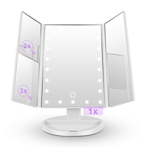 Makeup Mirror with Lights, butyface Lighted Vanity Mirror with 10x/3x/2x Magnification,Trifold Mirror with 21 Led Lights,Touch Screen, 180° Rotation,Dual Power Supply, Countertop Cosmetic Mirror