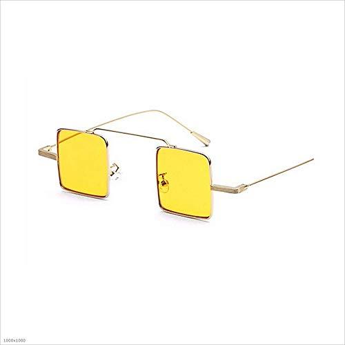 metálica Amarillo cuadradas Gafas Hombres Negro de clásicas Gafas Sol Sol Mujeres de pequeñas para para Sol Gafas Unisex Color con Montura de EPwqnZ1