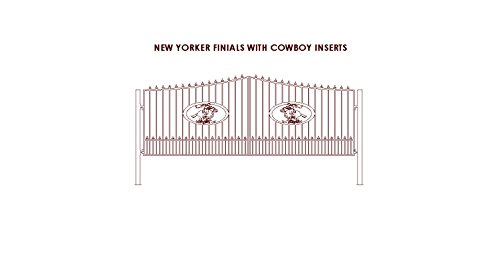 (Gate Builders New Yorker Steel Entry Gate with Finials and with 4Ft Cowboy On Horse medallion)
