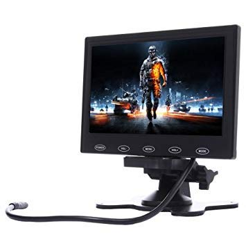 Uniqus 7.0 inch 800  480 Car Surveillance Cameras Monitor with Adjustable Angle Holder & Remote Control, Support VGA HDMI   AV(Black)