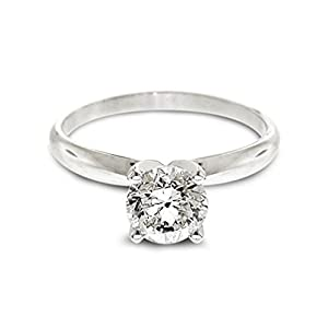 Diamond Studs Forever Platinum Solitaire Engagement Ring (IGI USA Certified, EF/I1)