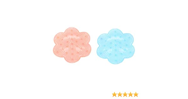 Blue + pink SUPVOX Bath Massage Pad Anti-Slip Foot Brush Massager with Suction Cup Foot Scrubber Mat for Bathroom 2PCS