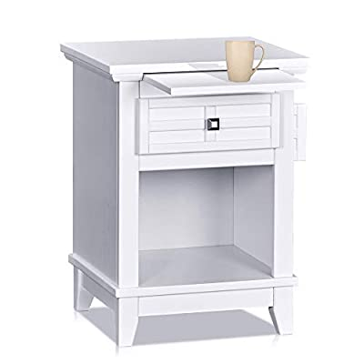 MUSEHOMEINC Wooden Classic Style Nightstand/End Table with Drawer, and Pull-Out Tray/End Table for Bedroom Open Cabinet Storage Home Furniture,White Finish