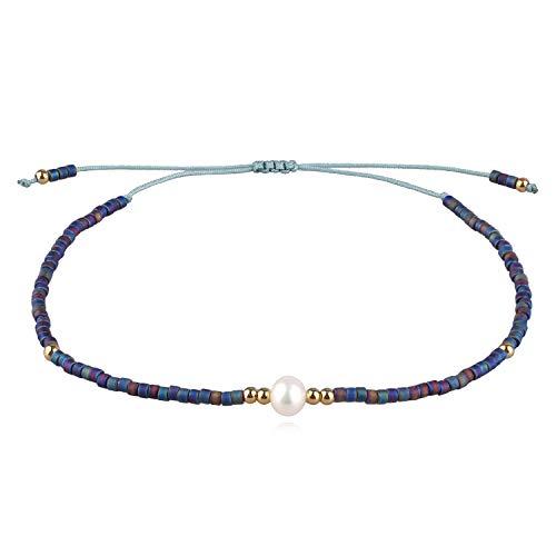 Seed Bead Bangle - KELITCH Shell Pearl Strand Bracelet Handmade Bohe Seed Beads String Charm Bracelets Friendship Bangle for Girls