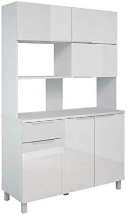 Berlioz Creations CB120B Buffet de Cuisine avec 6 Portes 1 tiroir Blanc Haute Brillance 120 x 46,5 x 190 cm