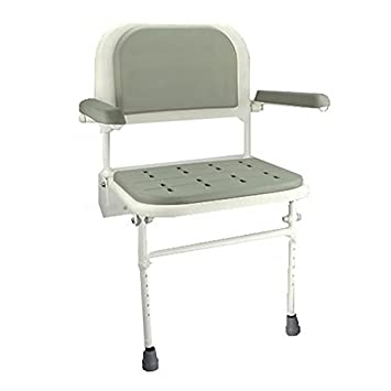 Beau Elite Care Wall Mounted Fold Down Shower Seat With Legs And Padded Seat,  Back And