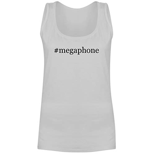 The Town Butler #Megaphone - A Soft & Comfortable Hashtag Women's Tank Top, White, XX-Large