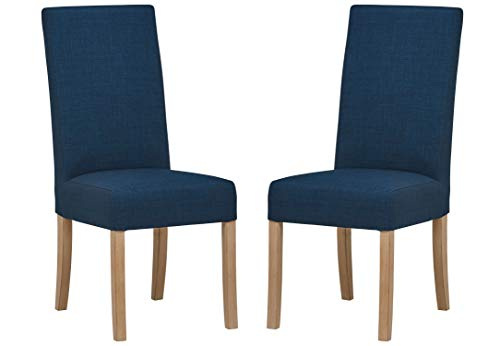 Stone & Beam Modern Woodley Kitchen Dining Room Chair, 40 Inch Height, Set of 2, Navy Blue