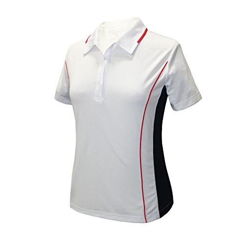 Monterey Club Ladies' Dry Swing Colorblock Garnish Colorblock Shirt #2192 (White/Navy/Red, X-Large)