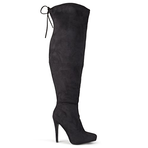 Brinley Co Women's Trick Over The Knee Boot, Black, 11 Wide/Wide Shaft US
