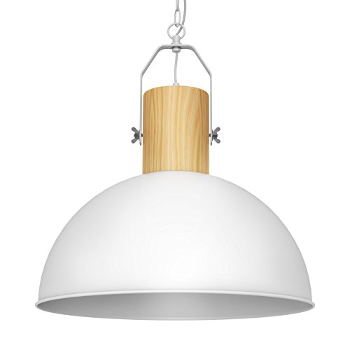 (Wood Pendant Light Modern Simple Hanging Lights with Metal Lampshade for Kitchen Restaurants Coffee Bar Nordic Minimalist Decor, 8W LED Bulb Included)