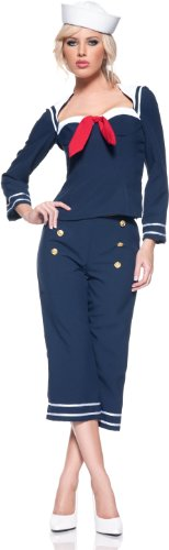 Womens Ship Mate Costume,Navy, Large