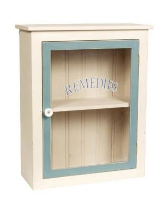 White ''Remedies'' Wood Medicine Cabinet