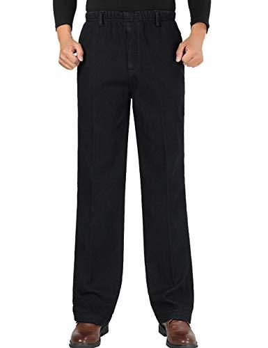 Zoulee Men's Full Elastic Waist Denim Pull On Jeans Straight Trousers Warm Velvet Black XL Fit 40 ()