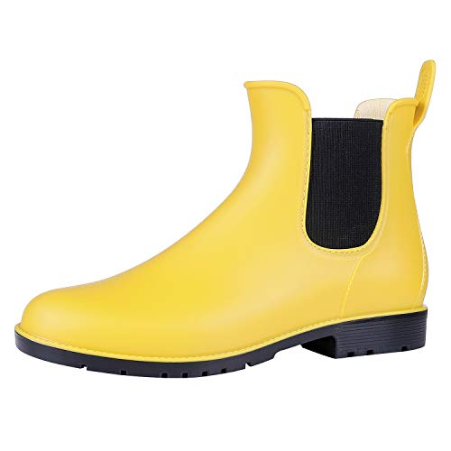 Asgard Women's Short Rain Boots Waterproof Slip On Ankle Chelsea Booties YL35 Yellow