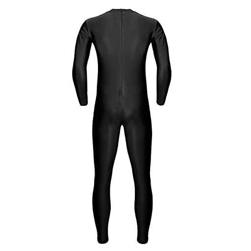 Iiniim Mens Turtleneck Lycra Spandex Long Sleeve Zentai Unitard Leotard Bodysuit Dancewear