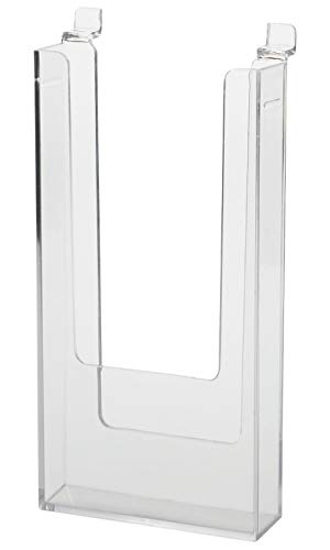 """Clear Acrylic Literature Holder for Slatwall - 4 1/2""""W x 8 1/2""""H x 1""""D - Set of 2 ()"""