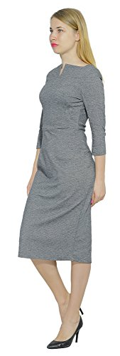 Sheath Neck Midi Marycrafts Square Business 3 Work Women's Dress Gray Office qnw770OYX
