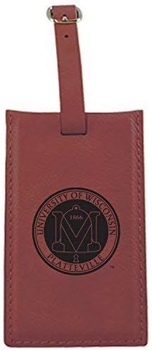 University of Wisconsin-Platteville-Leatherette Luggage Tag-Burgundy