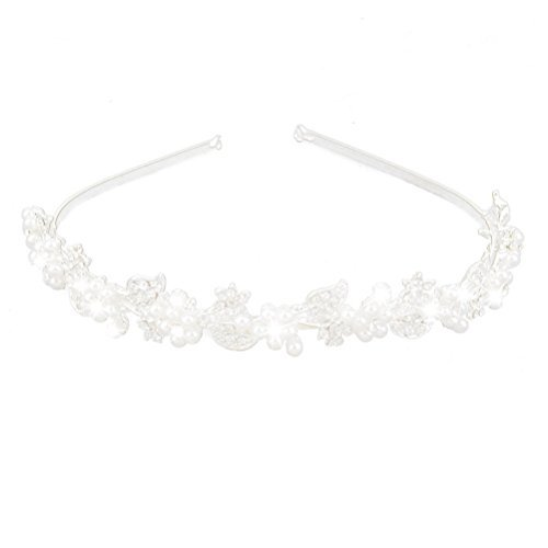 ULTNICE Rhinestone and Pearl Wedding Hairband Bride Bridal Headband Tiara Hair Accessories (Sliver)