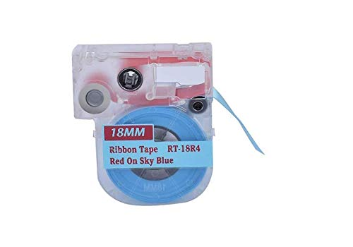 Blue Ribbon Cartridge - Jaywell 1 Pack 3/4-Inch Ribbon LC Cartridge RT-18R4 Compatible for Epson LabelWorks (Red on Sky Blue)