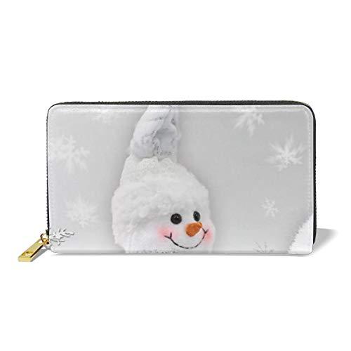 Leather Wallet Zipper Around Clutch Purse Waterproof Card Holder For Men & Women - White Snowman ()