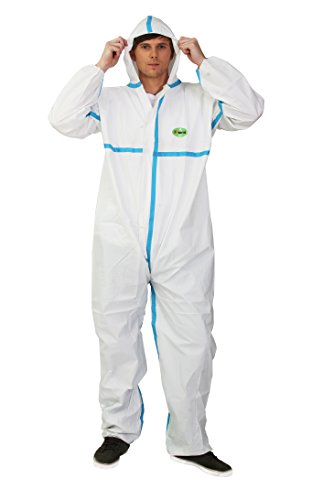 Microporous Film Disposable Coveralls (Raygard 30223 Disposable Chemical Protective Coverall Microporous Suit Taped Sealed Seams with Hood, Elastic Wrist, Ankles and Waist,Front Zipper Closure for Spray Paint Workwear(X-Large, White))