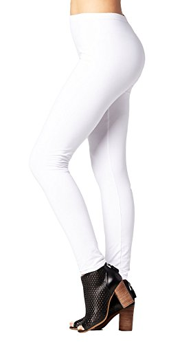 Conceited Super Soft High Waisted Women's Leggings - Opaque Full Ankle Length - Super White - One Size (0-10)