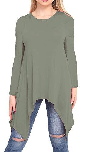 Caqui 21fashion de Morado larga Camiseta manga mujer para xTBnwP07q
