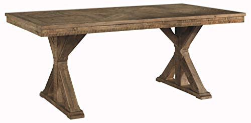 Trestle Farm Table - Signature Design by Ashley D754-125 Grindleburg Dining Room Table, White/Light Brown