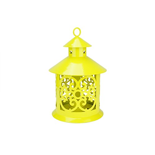 Northlight Shiny Yellow Votive or Tea Light Candle Holder Lantern with Star and Scroll Cutouts, 8