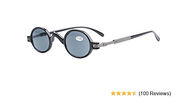 465fe38f228 Amazon.com  Eyekepper Sun Readers Spring Temple Vintage Mini Small Oval Round  Reading Sunglasses Grey Lens +2.5  Health   Personal Care