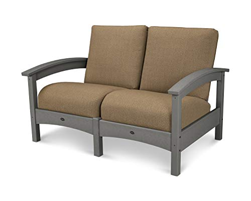 POLYWOOD TXC47SS-8318 Deep Seating Settee, Stepping Stone/Sesame