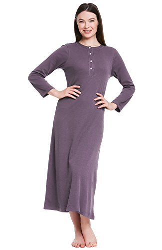 Alexander Del Rossa Womens Cotton Knit Nightgown, Long Henley Sleep Dress, X-Large Pebble (A0408PBLXL)