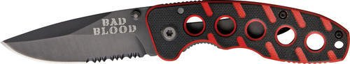Bad Blood Red Stripe Folder Black Red G10 Handle Black Combo (Comboedge G10 Handle)