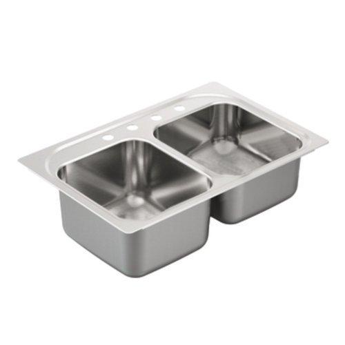 Moen G202334 2000 Series Double Bowl Drop in sink, 20-Gauge, Stainless Steel by Moen [並行輸入品] B018A2NVPA