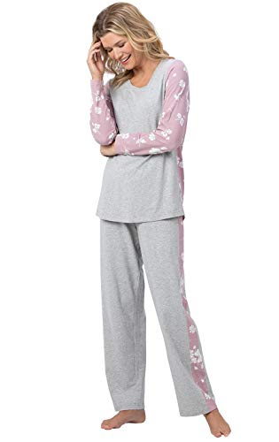 PajamaGram Floral Print Ladies Pajamas - Women PJ Set, Gray/Pink, XS, 2-4