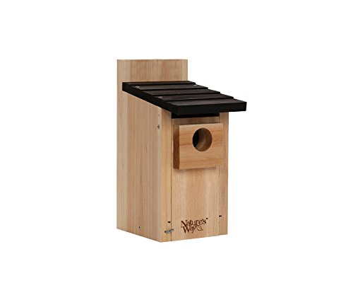 Wooden birdhouse with a black, over-hang roof.