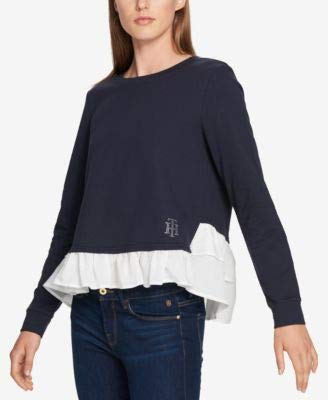 s Layered Hi-Low Pullover Top Navy L ()