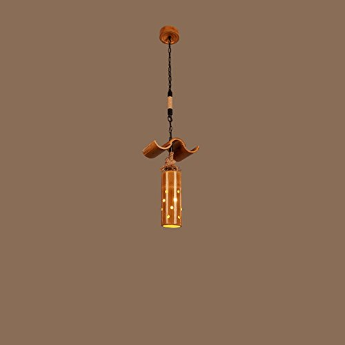 (KMXY New Bamboo Bird Cage Chandelier Hand Made Hemp Rope Ceiling Pendant Lamp Living Room Study Restaurant Bar Cafe Clothing Store Hanging Lights Christmas Lights (Size : Single Head))