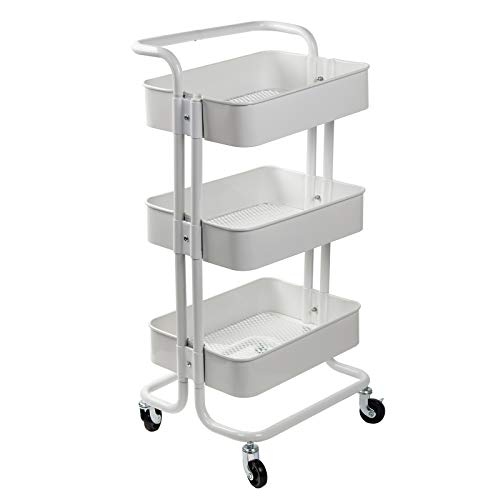 Sliver Sturdy Serving Trolley mit 4 Locking Wheels for Home Office Kitchen Bathroom Cozzine 5 Tier Basket Mesh Rolling Kitchen Trolley Utility Storage Rack Rolling Cart with 5 Side Hooks