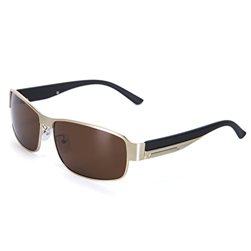 YJMILL New Polarized Sunglasses Retro Pilots Riding Fishing Golf Travel Sports Sunglasses Men 8485 (Gold, - Top 2019 Sunglasses