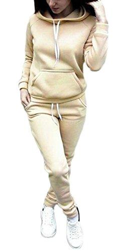 JXG Women Fleece Sweatshirt Set Hooded Tracksuit Workout Outfits 2 Pcs Tracksuit Khaki US XS