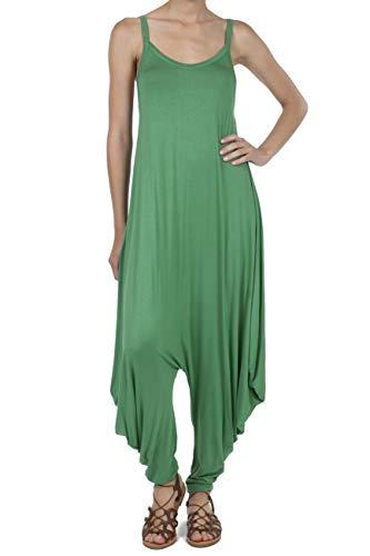 SHOP DORDOR 9011 Women's Casual V-Neck Sleeveless Loose Harem Romper Jumpsuits Dusty Green 2XL ()