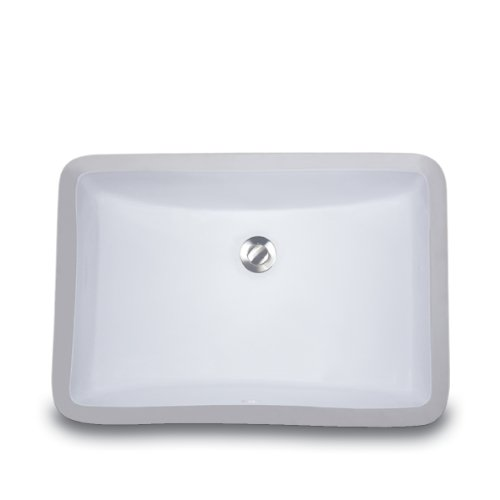 Nantucket Sinks UM-18x12-W 18-Inch by 12-Inch Rectangle Ceramic Undermount Vanity, ()