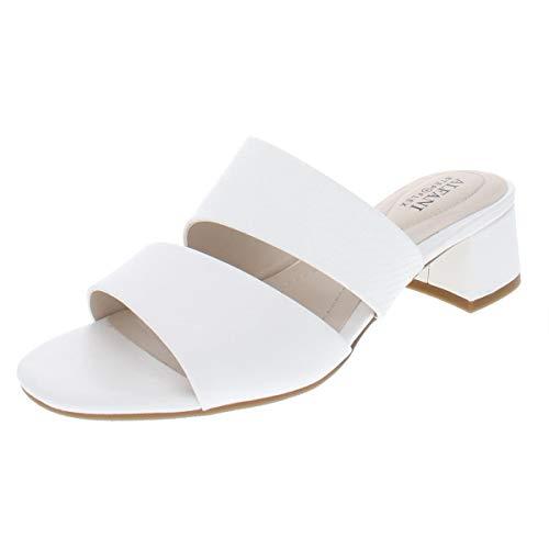 Alfani Heels - Alfani Womens Evviee Faux Leather Block Heel Slide Sandals White 5 Medium (B,M)