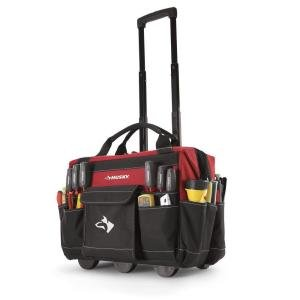 Price comparison product image Husky 18 Inch 600-Denier Red Water Resistant Contractor's Rolling Tool Tote Bag w/ Telescoping Handle